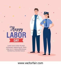 doctor man and police woman vector design