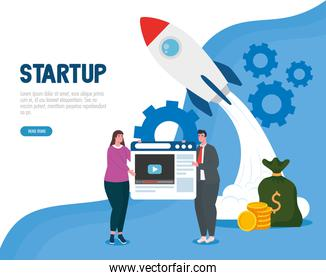 woman and man with start up rocket and website vector design