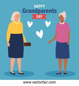 Grandmothers with hearts on grandparents day vector design