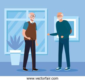 Grandfathers in home room vector design
