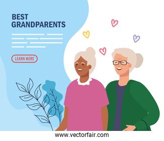 Grandmothers with hearts on grandparents vector design