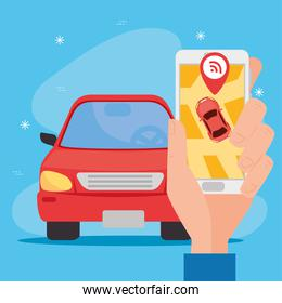 Hand holding smartphone with red car and wifi gps mark vector design