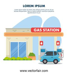 gasoline pump station with store and blue car vector design