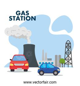 gas station with blue and red car vector design