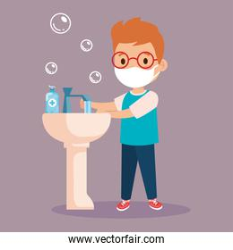 prevent covid 19, wearing medical mask, wash your hands, boy wearing protective mask