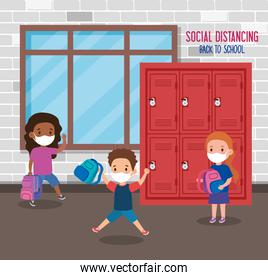 back to school for new normal lifestyle concept, children wearing medical mask and social distancing protect coronavirus covid 19, in school