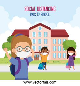 back to school for new normal lifestyle concept, children wearing medical mask and social distancing protect coronavirus covid 19, in facade school