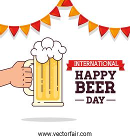 international beer day card with mug glass of beer drink and garlands hanging