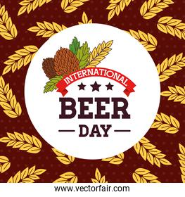international beer day, august, with seeds hop and spike decoration
