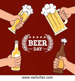 international beer day, august, hands holding a beers