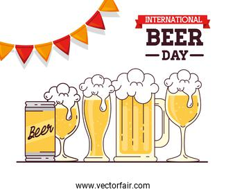 international beer day, august, beers and garlands hanging decoration