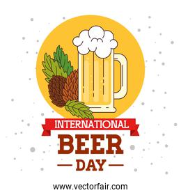 international beer day, august, with mug glass of beer drink and hop seed