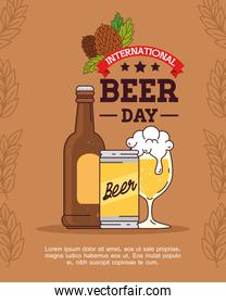 international beer day, august, bottle, can and cup glass of beer