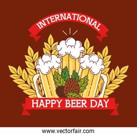 international beer day, august, mugs of beers and hop seeds