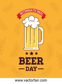 international beer day, august, with mug glass of beer drink and ribbon decoration
