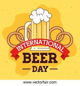 international beer day, august, with mug glass of beer drink and pretzel