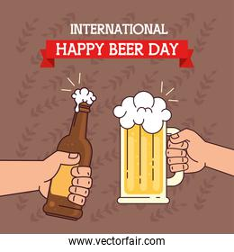 international beer day, august, with hands holding bottle and mug glass of beer