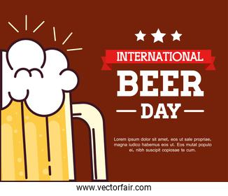 international beer day, august, with glass of beer and ribbon decoration