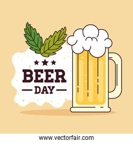 international beer day, august, with mug glass of beer drink