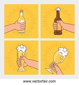 hands holding bottles, glass and cup of beers, on yellow background