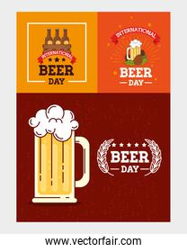 set of banners, of international beer day, august celebration with decoration