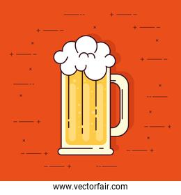 mug of beer with froth on orange background