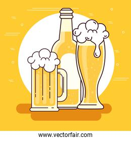 mug, glass and bottle of beer on yellow background