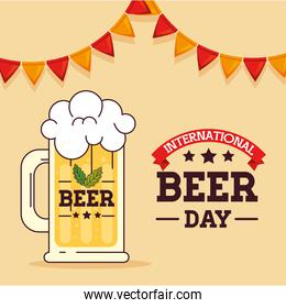 international beer day, august, with mug glass of beer drink and garlands hanging
