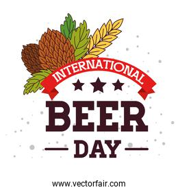 international beer day, august, with seeds hop and ribbon decoration