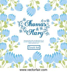 Wedding invitation with blue flowers and leaves vector design