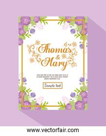 Wedding invitation with purple flowers and leaves vector design