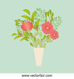 red flowers with leaves inside vase vector design