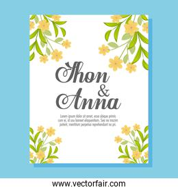 Wedding invitation with yellow flowers and leaves vector design