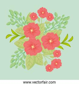 red flowers with leaves vector design