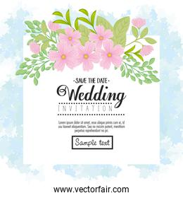 Wedding invitation with pink flowers and leaves vector design