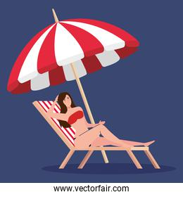woman with swimsuit in chair beach and umbrella, summer vacation season