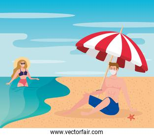 new normal summer beach concept after coronavirus or covid 19, couple wearing medical mask