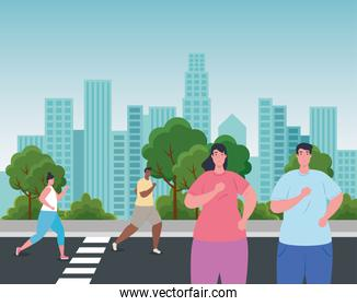 people running on the city, persons in sportswear jogging, sporty people in the street