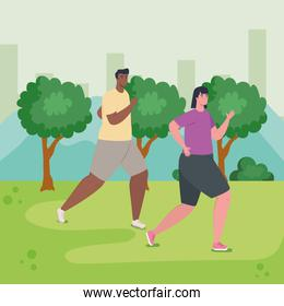 couple running outdoor, woman and man in sportswear jogging in the park