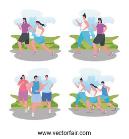 people running, group people in sportswear jogging, women and men practicing exercise
