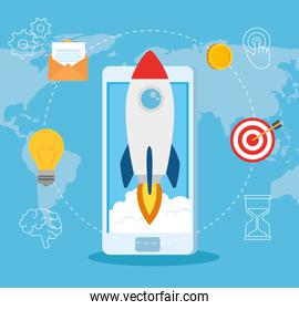 business start up concept, banner, business object startup process, rocket with smartphone and business icons