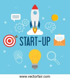 business start up concept, banner, business object startup process, rocket and business icons