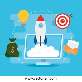 business start up concept, banner, business object startup process, rocket with computer and business icons