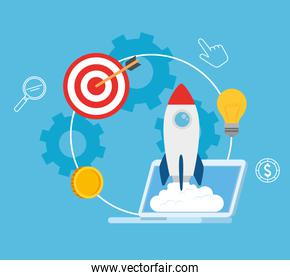 business start up concept, banner, business object startup process, laptop with rocket and business icons