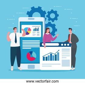 business start up concept, banner, business object startup process, business people, smartphone with web page and infographic
