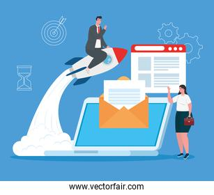 business start up concept, banner, business object startup process, business couple, laptop with business icons