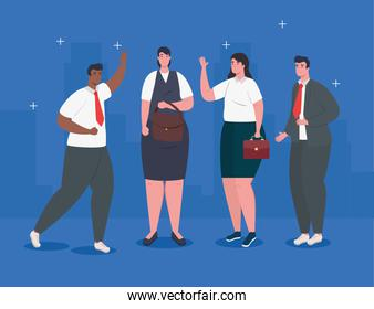 business people elegant standing avatar character