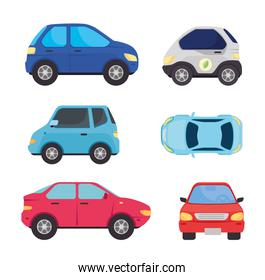 set collection of electric car and cars of oil fuel
