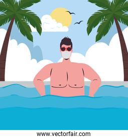 man wearing medical mask at sea, tourism with coronavirus, prevention covid 19 in summer vacation