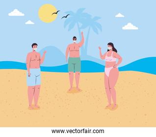 social distancing on the beach, people wearing medical mask keep distance in the beach, new normal summer beach concept after coronavirus or covid 19